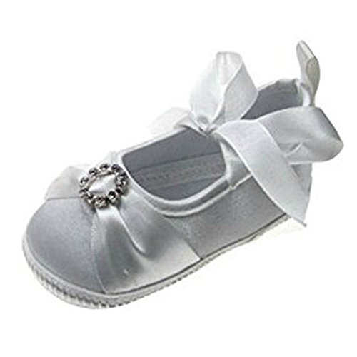Soft Touch - Zapatos primeros pasos para niña - White Diamonte Ribbon Shoe