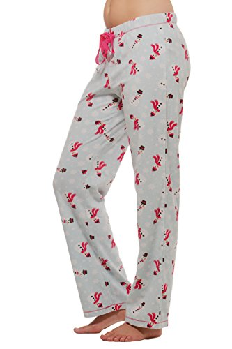 Alki'i Warm Winter Fleece Lounge Pajama Bottom Pants -Snowman-M
