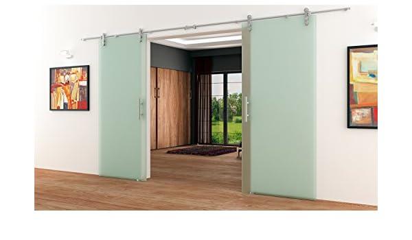 Puertas correderas de cristal completa-satinado de acero ...
