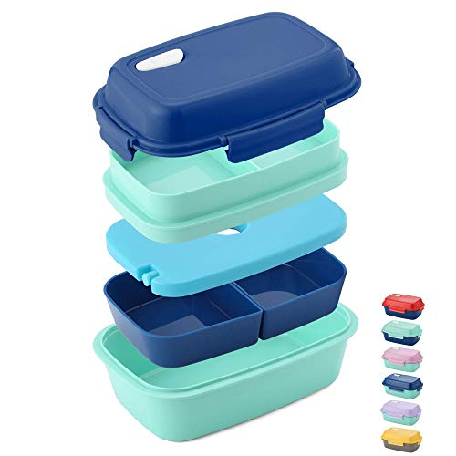 - Ultimate Bento Box - Lunch Box for Kids & Adults - 100% Leakproof - Multi Compartment Food Container with Removable Containers and Ice Pack - Microwave & Dishwasher Safe (Blue, Green, Blue)
