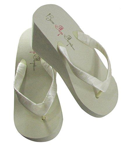 (Bridal Flip Flops Womens Bridal Wedding Platform Heel Satin Flip Flops (7 M US, Ivory High 3.5 inch))