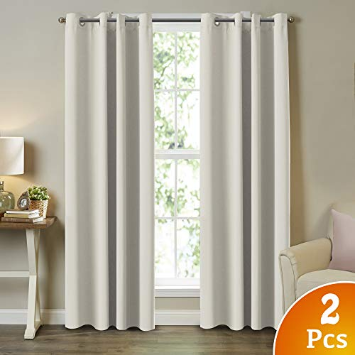 Room Darkening Grommet Panels Tripe Woven Textured Soft Curtain Panels Easy Care Solid Thermal Insulated Grommet Light Reducing Curtains/Panels/Drapes for Bedroom (2 Panels, Cream, 52x96 Inch) (Light Blocking Curtains Beige)