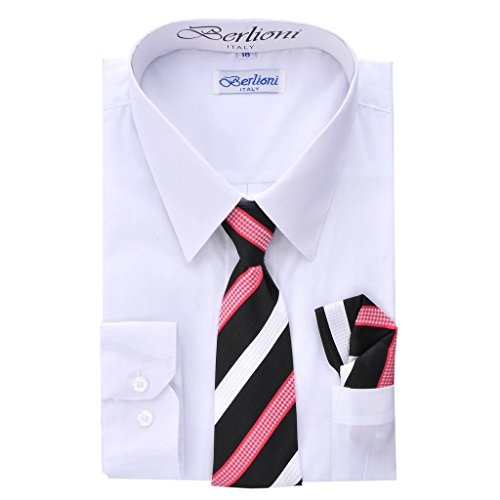 iGirlDress Boys Dress Solid Dress Shirt Tie and Hanky Set White-14
