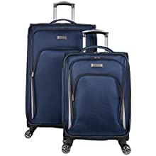"""Kenneth Cole Reaction Cloud City 2-Piece 20"""" Carry-On & 28"""" Check Size Lightweight Softside Expandable 8-Wheel Spinner Travel Luggage Set, Navy"""