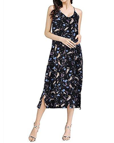 Sleeveless Women X Boho Sundress Long Dress Auxo Floral Pockets Casual black Dresses Round Hawaiian Summer Neck Maxi wRxdIxTqZF