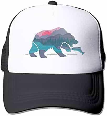 88b6105f1e1f5 Waldeal Unisex Adult Bear California Adjustable Printing Snapback Mesh Hat  Baseball Mesh Cap