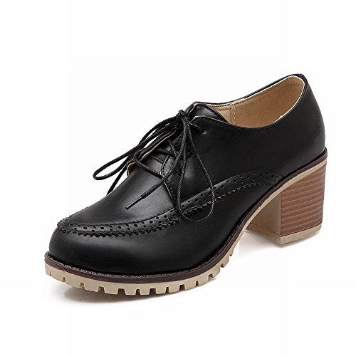 Show Shine Damesmode Dikke Hak Oxfords Schoenen Zwart