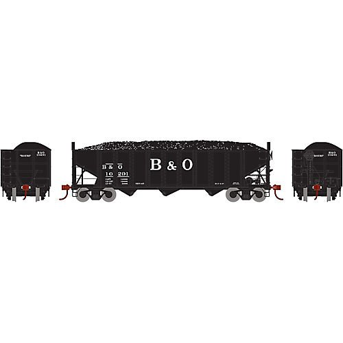 HO RTR 40' 3-Bay Ribbed Hopper with Load B&O - 3 Side Hopper Ribbed Bay