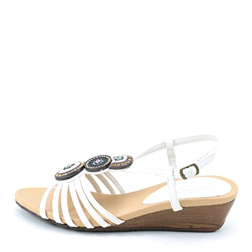 Wedge Womens Strappy New White Strappy Womens Sandals Studded Brieten Slingbacks Studded New Brieten CwU6vtwq