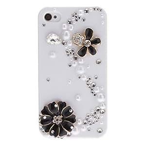 Delicadas flores y diamantes en forma de S cubiertos estuche r¨ªgido con adhesivo para el iPhone 4/4S (colores surtidos) , Rosado