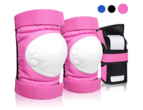 DEKINMAX Knee Pads for Kids & Youth Protective Gear Set, Kneed Pads Elbow Pads with Wrist Guards 3 in 1 for Biking, Skating, and Rollerblading Scooter (Pink, S)