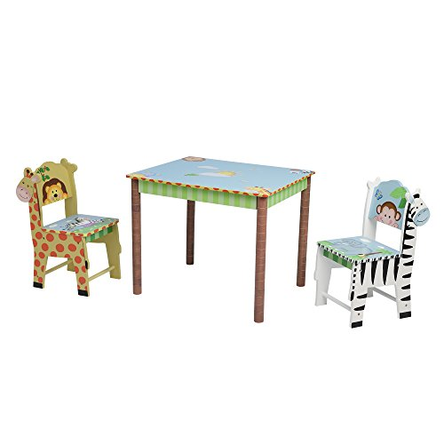 Fantasy Fields – Sunny Safari Thematic Hand Crafted Kids Wooden Table and 2 Chairs Set Imagination Inspiring Hand Crafted & Hand Painted Details Non-Toxic, Lead Free Water-based Paint