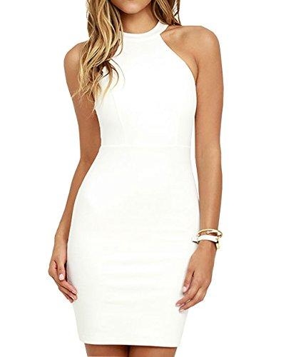 - Lyrur Women's Formal Halter Neck Lace Key Hole Bodycon Party Dress (US4, 6036-white)