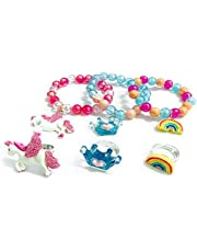 LEBERY Unicorn Bracelet Ring Set, Unicorn Rainbow Crown Beaded Bracelet for Toddler Girls, Unicorn Rainbow Crown Ring Set for Little Girl Pretend Play Dress Up Jewelry Gift Birthday Party Favors