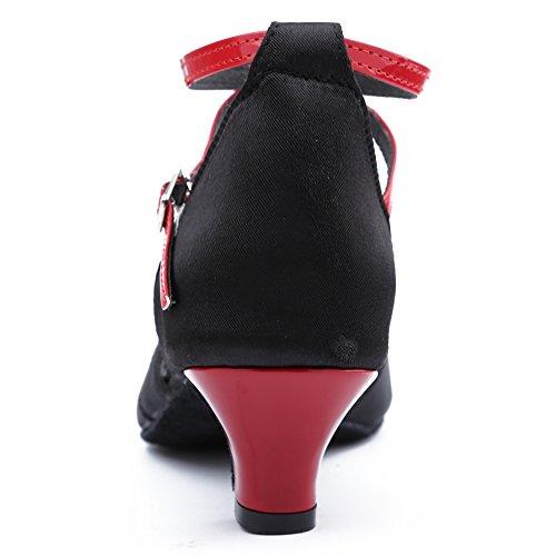 Calzado de Performance Salsa Baile de Zapatillas YKXLM de Latinos Modelo Mujeres Zapatos Tango ESXGG de Danza amp;Niña Rojo Negro Salón Baile xwnpB0O6q