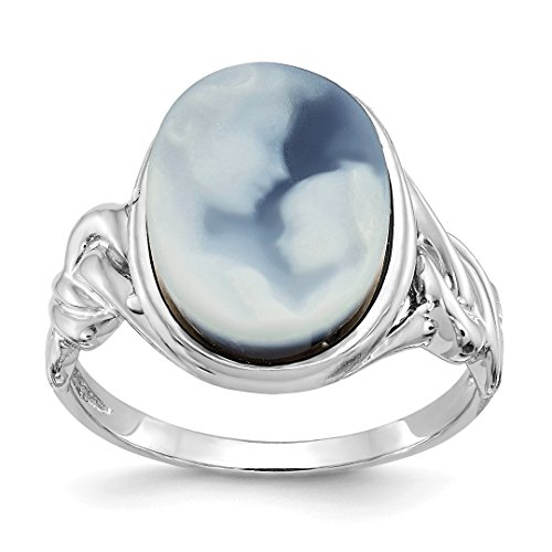 ICE CARATS 14k White Gold Heavens Gift Agate Cameo Band Ring Size 7.00 Stone Fine Jewelry Gift Set For Women (14k Agate Jewelry Set)