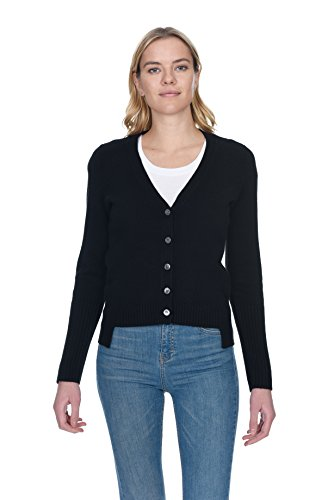 State Cashmere Women's V-Neck Button Down Cardigan 100% Pure Cashmere High Low Back Panel Sweater (X-Large, Black)