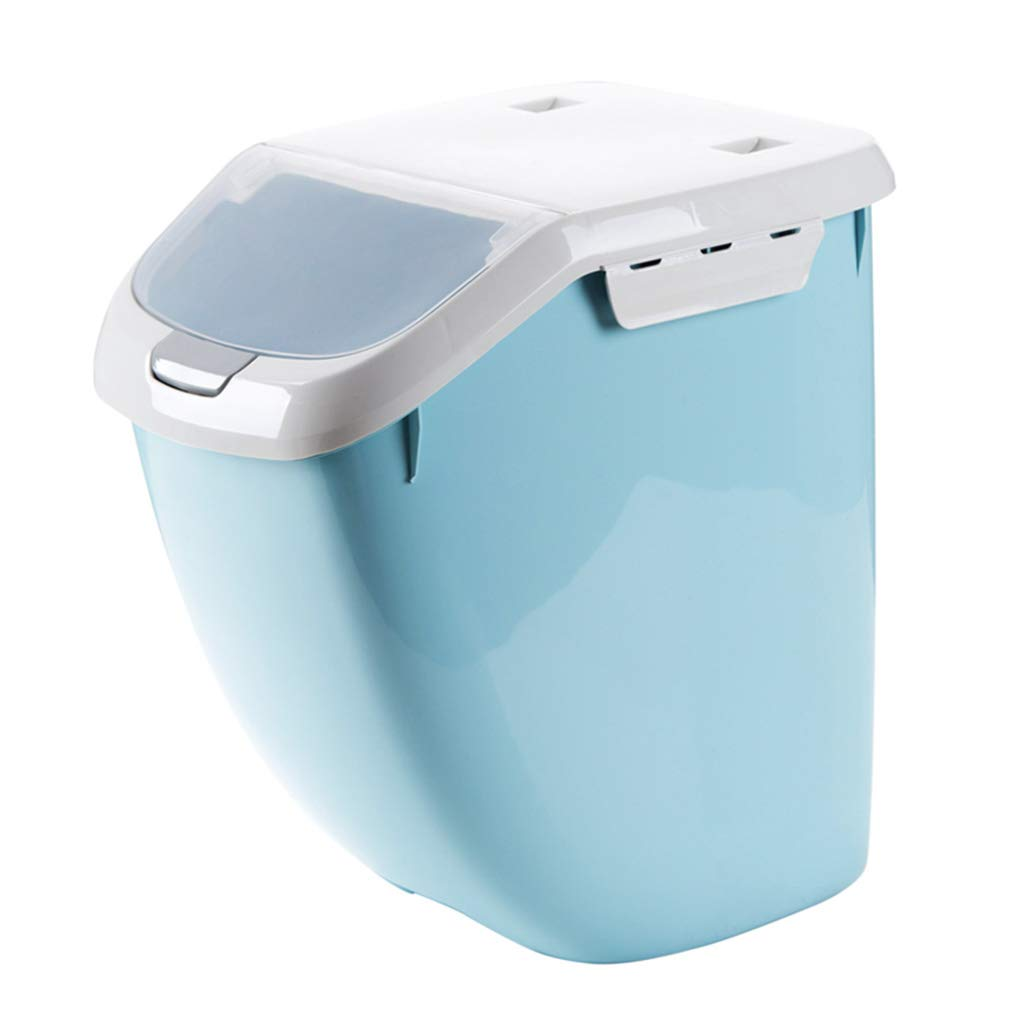 Kitchen Grain Rice Flour Storage Container Plastic Seal Pest Control 15kg (Color : Blue, Size : Small) XFPINK-Grain container