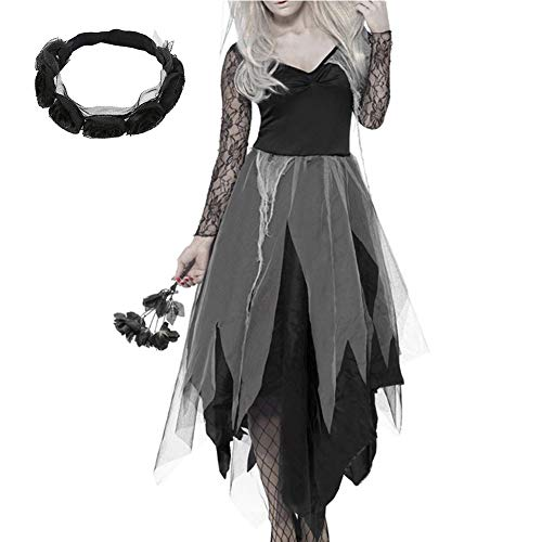 Women Zombie Scary Cosplay Irregular Ladies Long Sleeve Lace Fancy Dress with Headband Black Cosplay Halloween Party Costume(XL) -