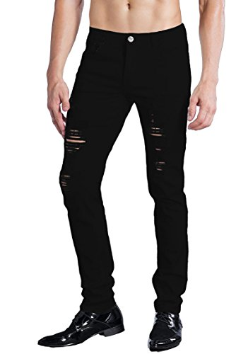 ZLZ Men's Ripped Skinny Distressed Destroyed Slim Fit Stretch Biker Jeans Pants With Holes (38, Black 01)