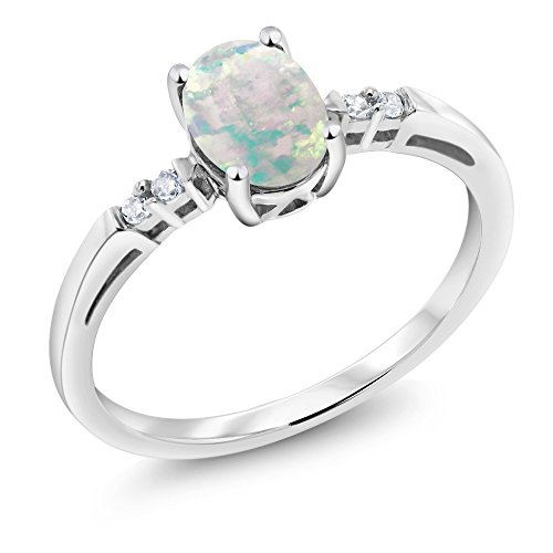 14K White Gold Oval Cabochon White Simulated Opal and White Diamond Women's Ring 0.66 Ctw (Size 5) - Cabochon Gold Ring
