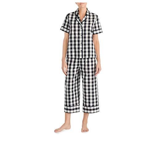 Kate Spade Gingham Capri Pajama Set,Black/White (Large)