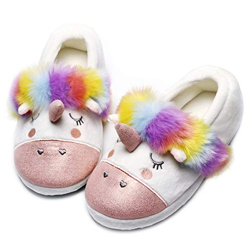Womens Unicorn Slippers |Cute Funny Slippers for Family| Kids Girls Animal House Shoes (7-8.5, red) ()