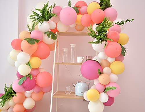 (Pink Balloons Arch&Garland Kit/90pcs Pastel Pink Party Balloons Macaron 9 Colors/for Wedding, Baby Shower, Graduation, Anniversary Organic Party)