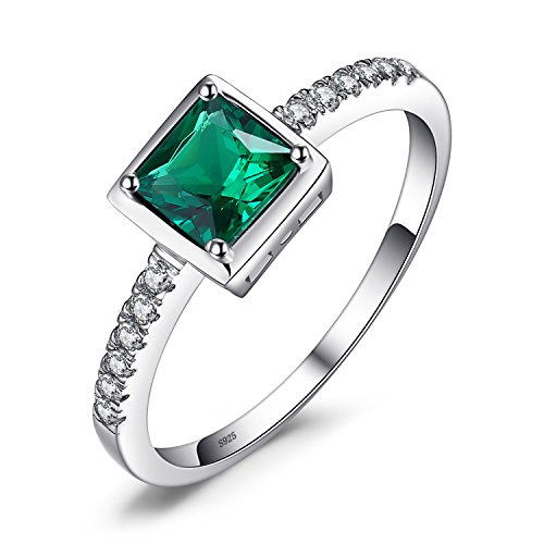 JewelryPalace Square 0.5ct Simulated Green Nano Russian Emerald Solitaire...