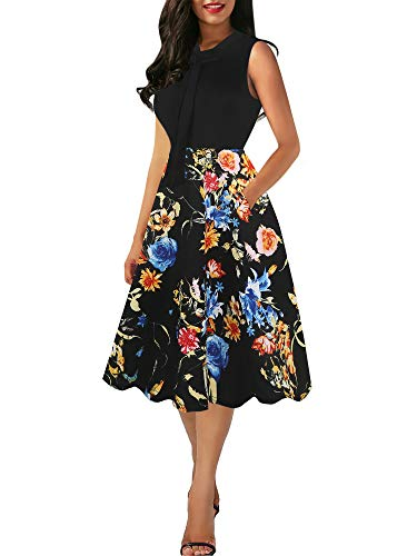 oxiuly Women's Vintage Bow Tie Floral Patchwork V Neck Pockets Casual Work Party Cocktail Swing Dress OX278 (S, Black Floral PT)