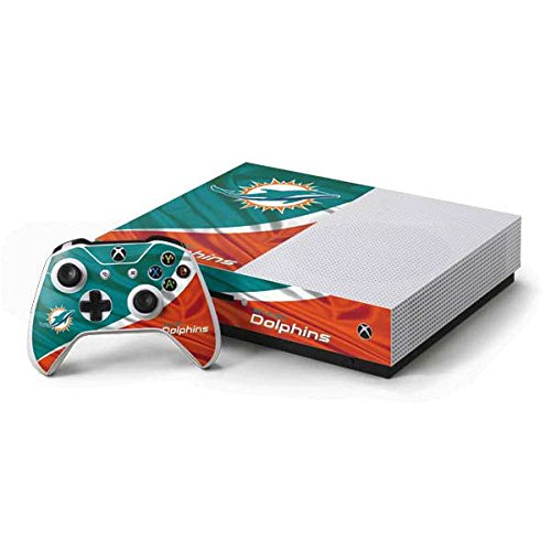 Skinit NFL Miami Dolphins Xbox One S Console and Controller Bundle Skin - Miami Flag Design Design - Ultra Thin, Lightweight Vinyl Decal Protection
