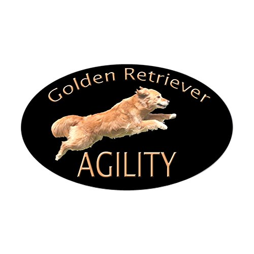 CafePress - Golden Retriever Agillity Black Decal - Oval Bumper Sticker, Euro Oval Car Decal