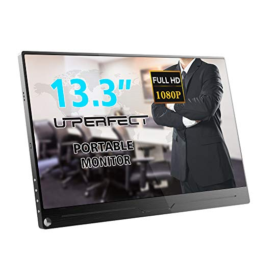 UPERFECT Portable Monitor 13.3 Inch Computer Display 1920×1080 IPS Screen Fit with HDMI Type-C OTG Mini DP Built-in Speaker Gaming Monitor for Raspberry Pi PS3 PS4 Xbox 360 Laptop Cellphone PC MAC WIN (Best Portable Monitor For Ps4)