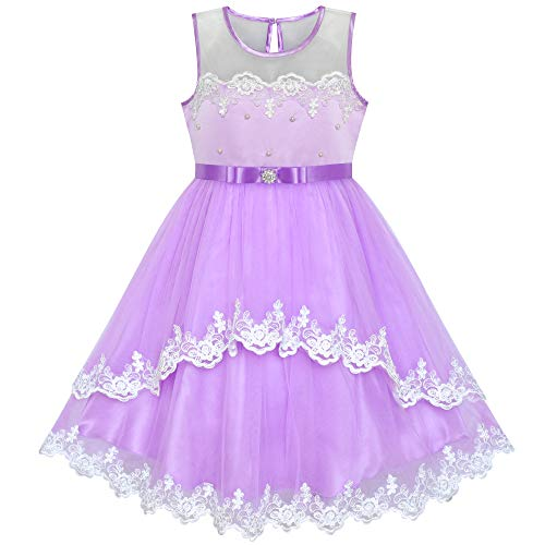 Sunny Fashion Flower Girls Dress Purple Lace Belted Wedding Party Size 4