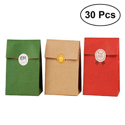 l Kraft Paper Handle Gift Bags Recyclable Vintage Paper Bags (Kraft Color and Kermesinus and Atrovirens) ()