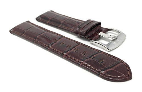 Extra Long, 22mm Smartwatch Band Strap fits Motorola 360 (46mm Case), Samsung S3 Classic & Many More, Alligator Pattern, Leather, Brown
