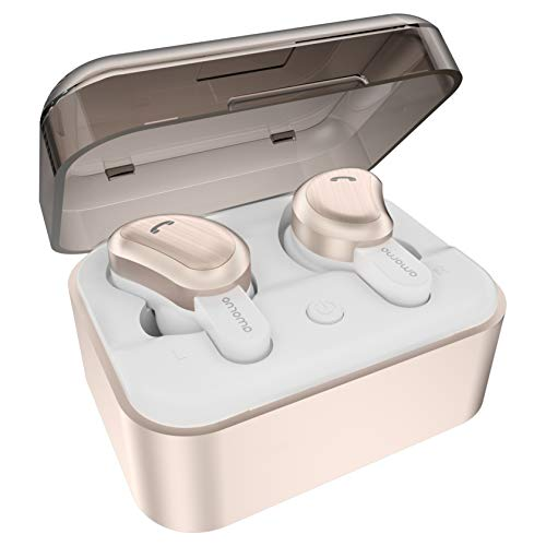 Bluetooth Headphones, Doltech Bluetooth 5.0 Neckband Headphones Noise Cancelling Headset with Carrying Case Retractable Earbuds Stereo Earphones with Mic Rose Gold