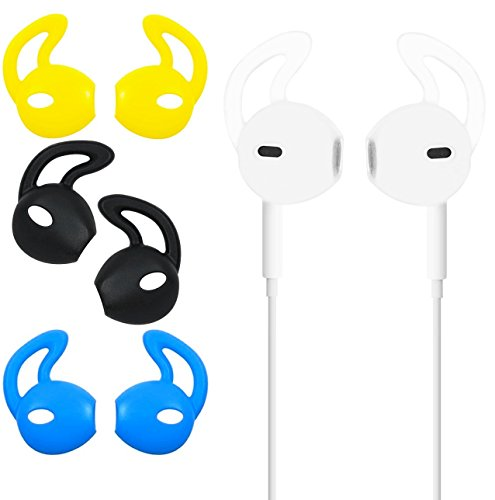 Ear Gel for Apple iPhone Earpod Cover Anti-Slip Silicone Soft Replacement Sport Earbud Tips for iPhone 7 / 6S / 6 Plus / 5S / 5C / 5 Comfortable 4 Pairs (Color Bundle)