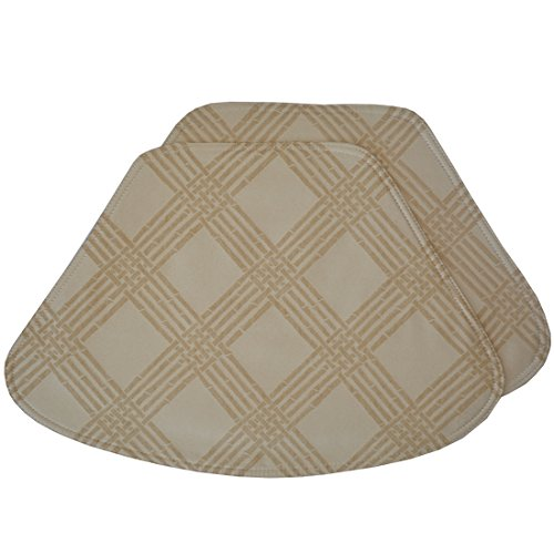 Sweet Pea Linens Set of 2 Tan Lattice Jacquard Wedge-Shaped Placemats for Round Tables