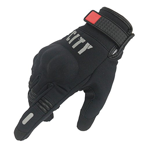 FSOL Motorcycle Racing Gloves Knight Night Reflective Full Finger Touch Gloves Riding Off-road Motorcycle Gloves (Medium, Summer Black)