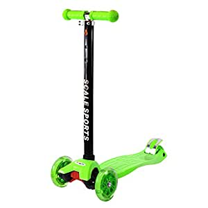 Green Outdoor Kids Kick Scooter 3 Wheel Adjustable Height T-Bar Lean To Steer Ride On LED Wheels Up To 130 LB Age 5+