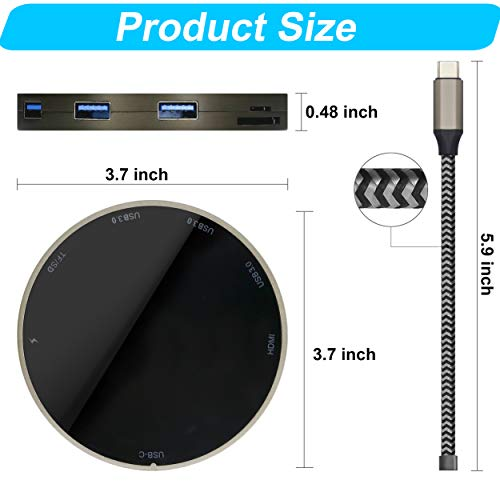 USB C Hub,Portable 8 -in-1 Wireless Fast Charger USB C Multiport Adapter with 3 USB 3.0 Ports, 4K HDMI, microSD and SD Card Reader for MacBook Air, MacBook Pro, XPS, and More (Grey Balck)