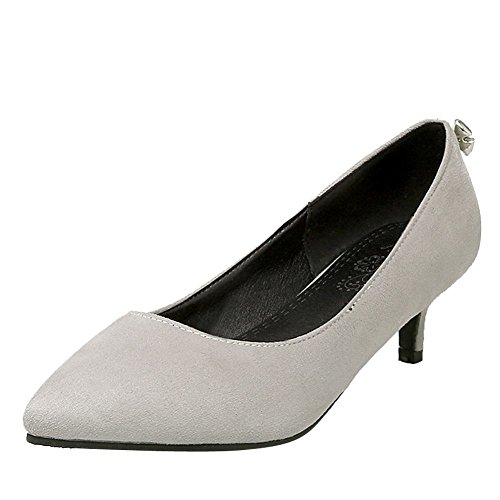 Charm Foot Womens Elegante Scarpe A Punta Tacco Basso Scarpe Grigie