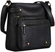 Plambag Crossbody Purse for Women, Washed Soft PU Leather Multi-Pocket Messenger Handbag(Black)