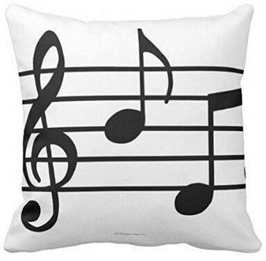 Unique Style Music Notes Simple Black White Zippered Pillowcase Bed Pillow Protector Twin Side Printing Pillow Cover 18x18 Inch (Nascar Standard Pillowcase)