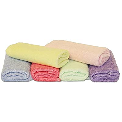 Luv Your Baby 6 Pack of 100% Bamboo Washcloths, Perfect 25cm X 25cm Size, Hypo-allergenic, Anti-Bacterial, Eco-friendly, Use With Your Favourite Baby Bathing Skin Care Products and Children's Bath Towels. Softer Than Cotton, Extremely Absorbent.