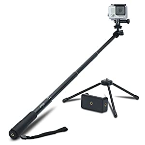 Review XP Selfie Stick Extendable Monopod with Universal Tripod Stand for GoPro Hero 5/4/3+/3/2/1/Session Cameras, Xiaomi, Yi, and Other Action Cameras Compact Cameras and Cell Phones