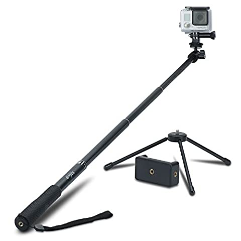 Review XP Selfie Stick Extendable Monopod with Universal Tripod Stand for GoPro Hero 5/4/3+/3/2/1/Session Cameras, Xiaomi, Yi, and Other Action Cameras Compact Cameras and Cell (Magnet For Mod)