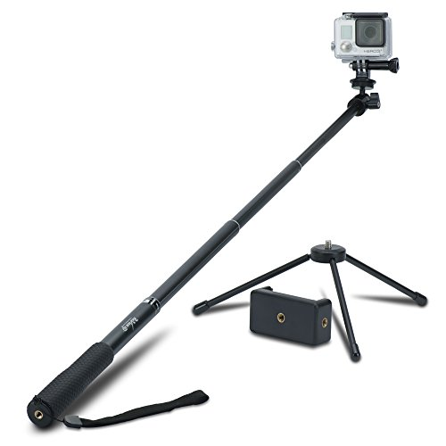 Review XP Selfie Stick Extendable Monopod with Universal Tripod Stand for GoPro Hero 5/4/3/3/2/1/Session Cameras, Xiaomi, Yi, and Other Action Cameras Compact Cameras and Cell Phones