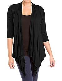 eVogues Women's Longline Drape Front Cardigan Black